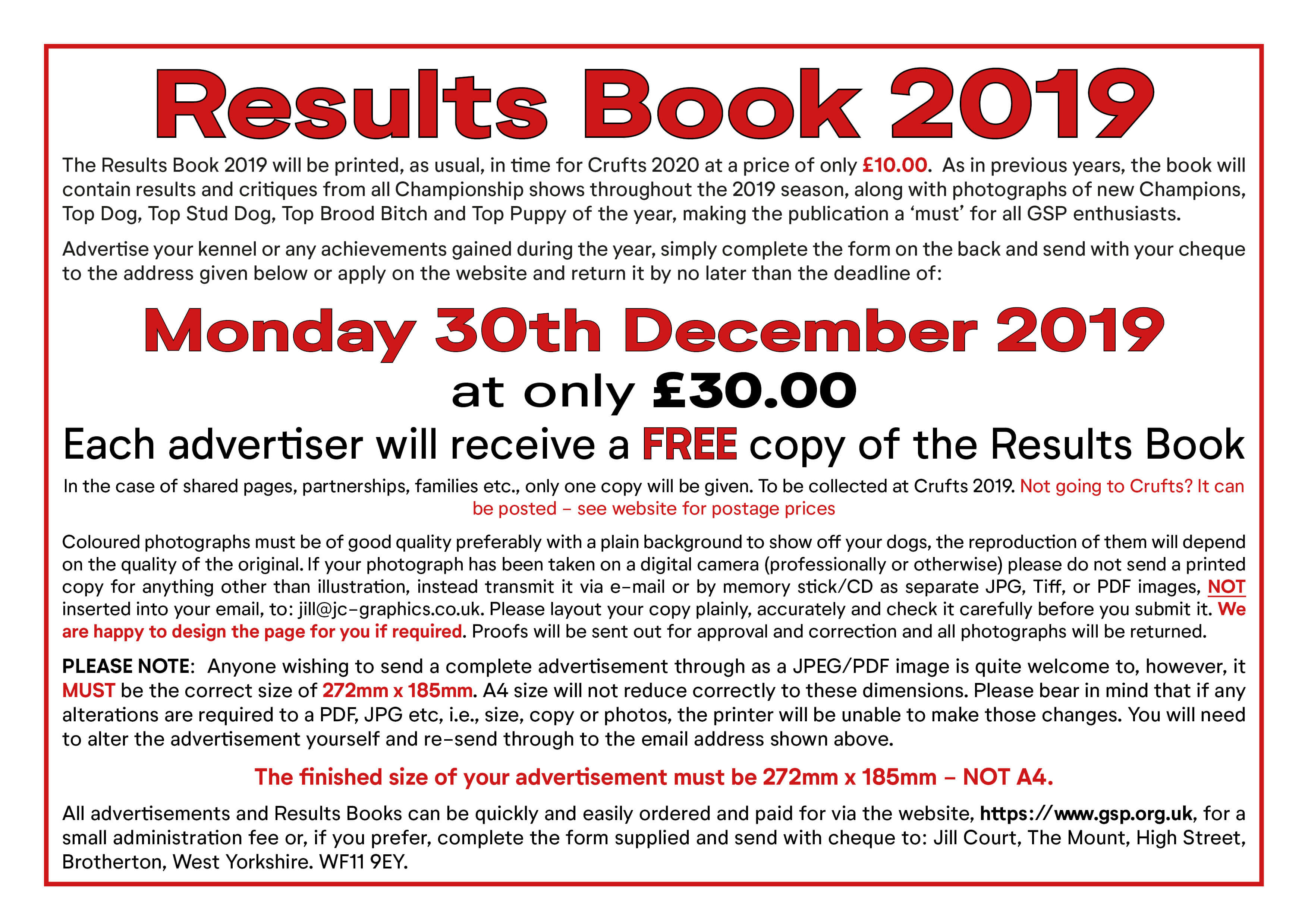 Results Book Advertisements 2019